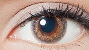 リルムーンワンデーのクリームグレージュの装着画像・レンズ画像