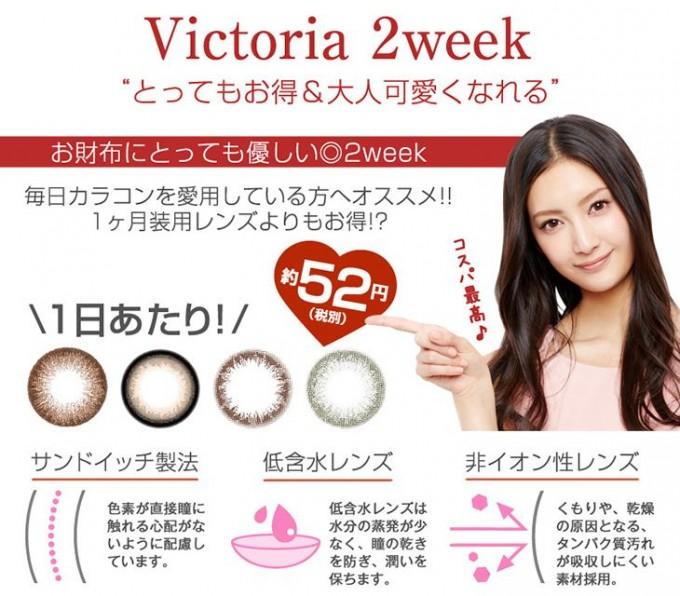 ヴィクトリア2weekバイキャンディーマジック セピアの装着画像・レンズ画像・パッケージ箱画像レポ