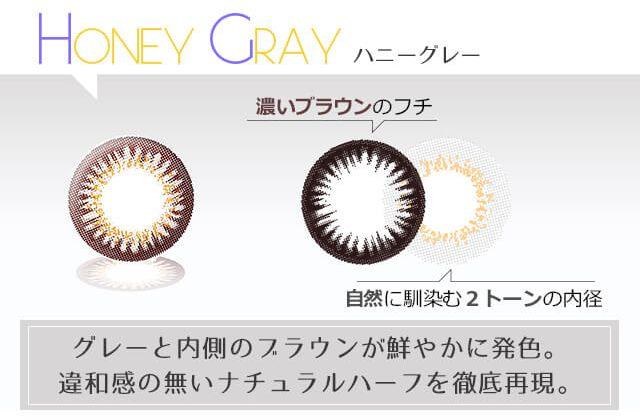 HONEY DROPS(ハニードロップス)ワンデー ハニーグレーの装着画像・レンズ画像・パッケージ箱画像レポ