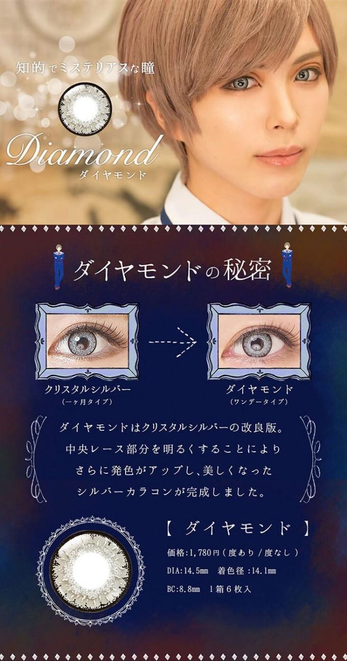 エティアクールワンデー ダイヤモンドの装着画像・レンズ画像・パッケージ箱画像レポ