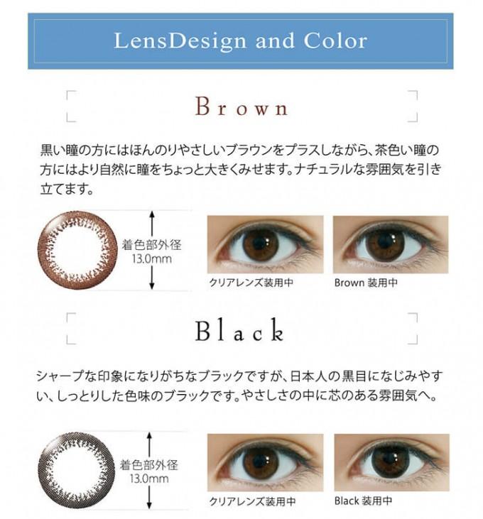 ワンデーアイレリアルUVトーリック ブラウンCYL-1.25の装着画像・レンズ画像・パッケージ箱画像レポ