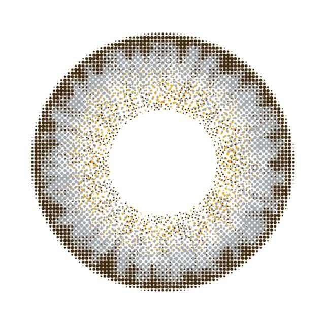 カラーズワンマンス ハーフグレーの装着画像・レンズ画像・パッケージ箱画像レポ